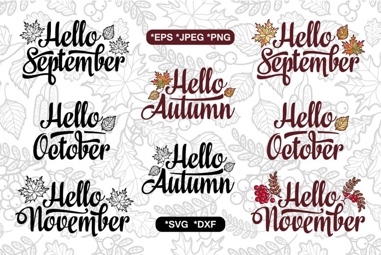 Autumn cutting file. Fall quote. Seamless pattern. example image 1