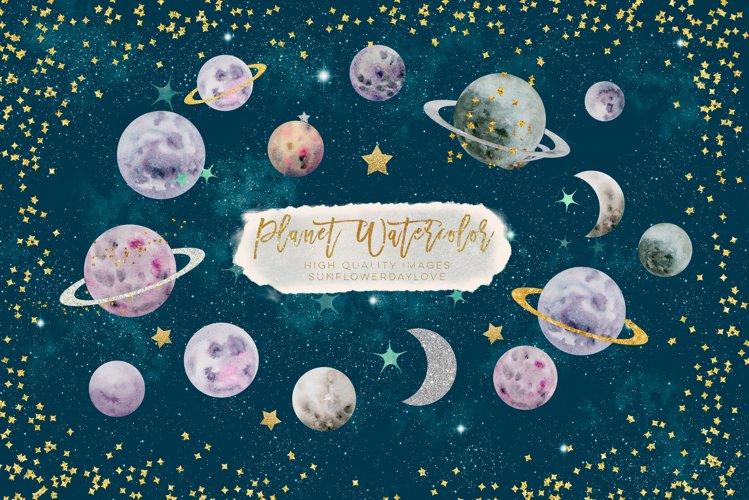 Planets watercolor clipart, planet clip art, solar space