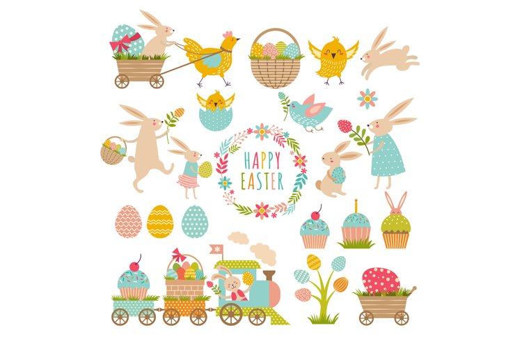 Vintage elements set of easter theme. Rabbits, eggs, ribbons example image 1