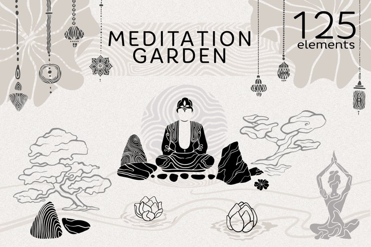 MEDITATION GARDEN.Hand drawn set.Zen boho garden.