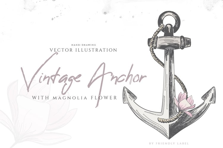 VINTAGE ANCHOR with magnolia flower example image 1