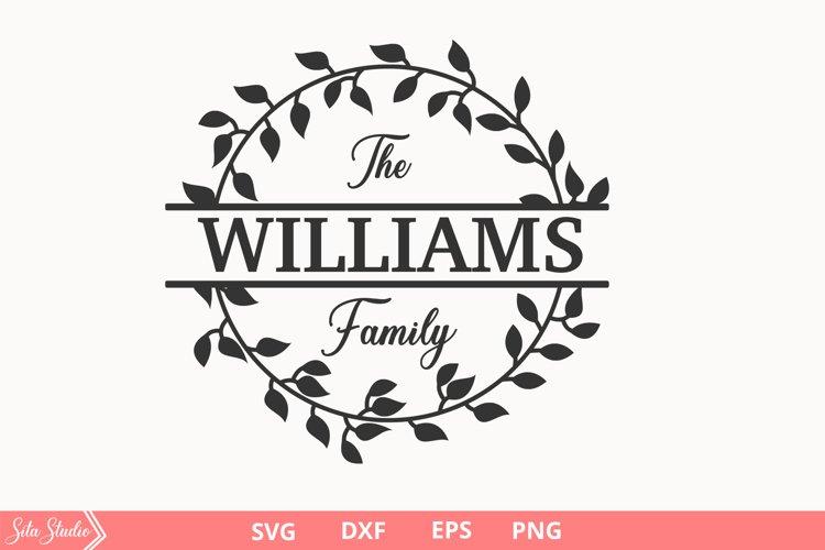 Farmhouse Monogram Wreath , Split Wreath Family Name SVG