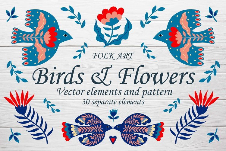 Folk art birds & flowers vector elements and patterns example image 1