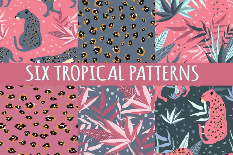 six tropical seamless patterns example image 1