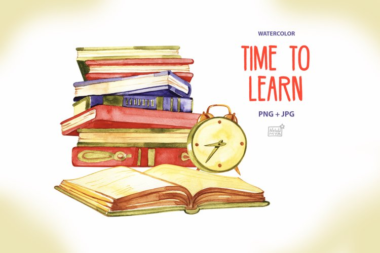 Time to learn. Watercolor clipart example image 1