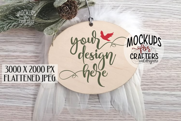 Oval wood Ornament Mock-Up, feather wings, grieving, loss