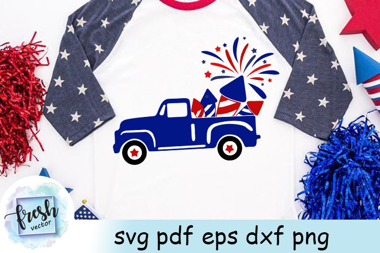 4th of July Truck SVG 4th of July Svg Truck Fireworks Svg example image 1