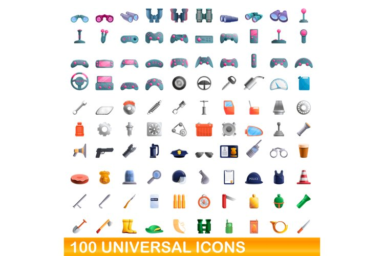 100 universal icons set, cartoon style example image 1