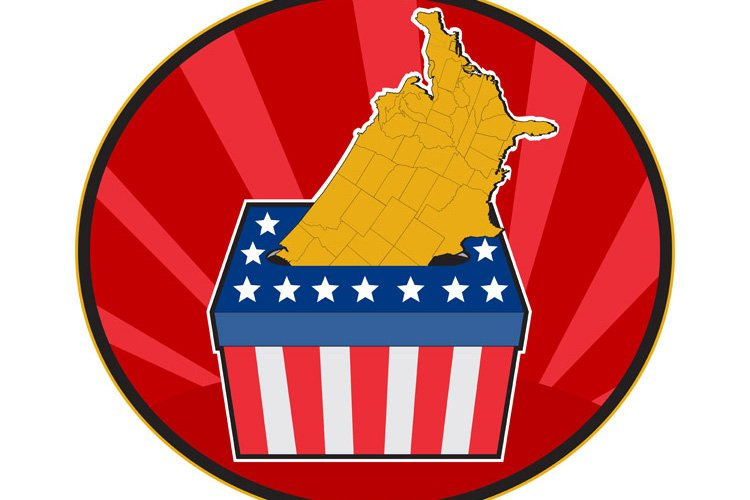 American election ballot box map of USA example image 1