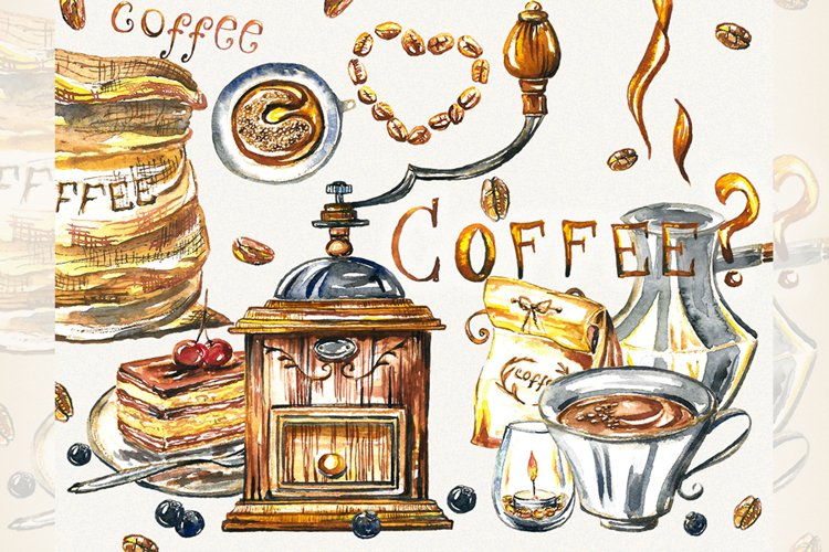 Coffee clipart, coffee cup, food clipart, watercolor coffee