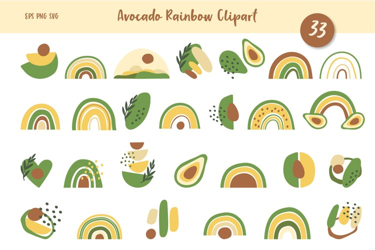 Avocados and Rainbows Clipart, Abstract Shapes, EPS, PNG example image 1