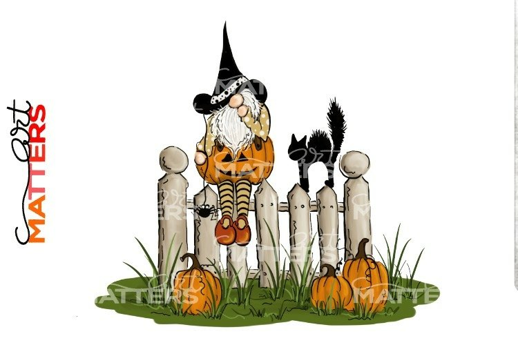 Gnome Fence Cat Halloween - Hand painted - 300 DPI