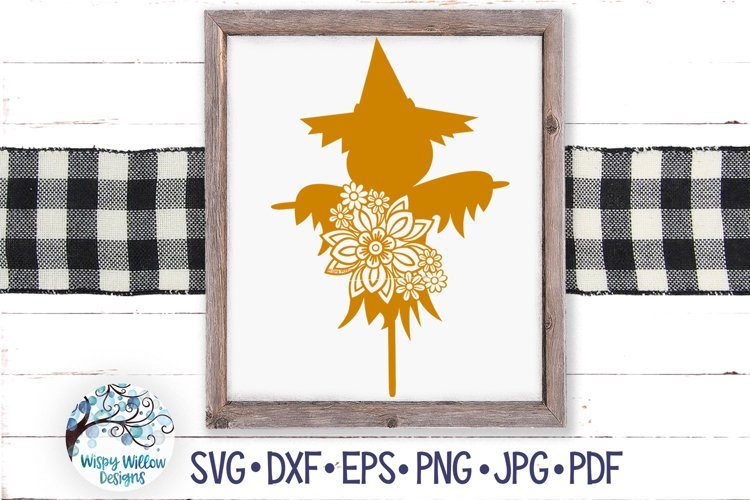 Floral Scarecrow SVG | Fall Scarecrow with Flowers SVG example image 1
