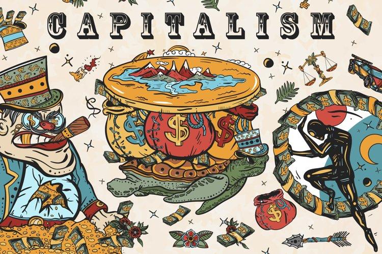 Capitalism old school tattoo example image 1