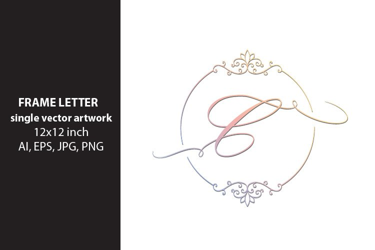 letter c inside ornate frame - single vector artwork example image 1