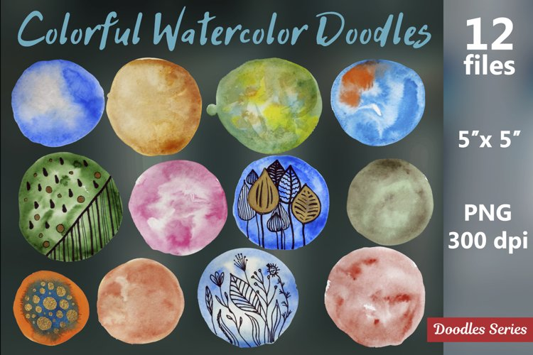 Colorful Watercolor Doodles. 12 PNG files.