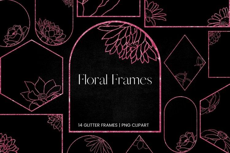 Pink Glitter Floral Frames Clipart