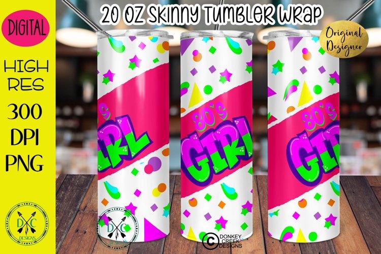 Sublimation Design Retro 80's Girl 20 oz tumbler wrap example image 1