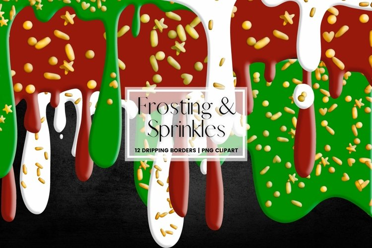 Christmas Dripping Frosting with Sprinkles Border