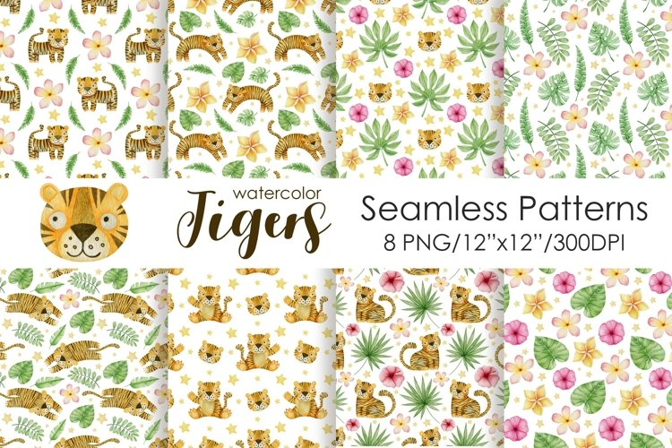 Watercolor Tigers Seamless patterns