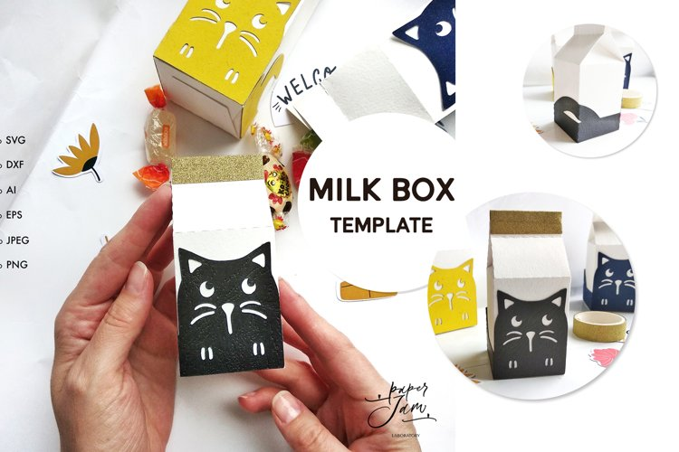 Milk box svg template candy box svg treat box template svg example image 1