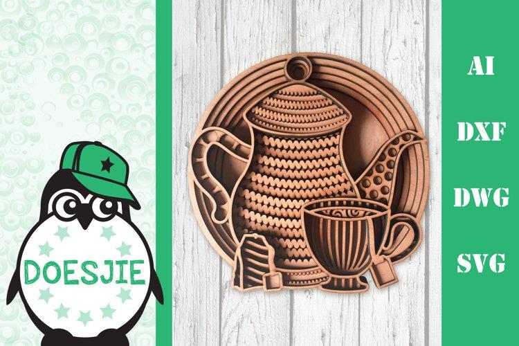 Tea cup tea pot 3D layered svg tea mandala example image 1