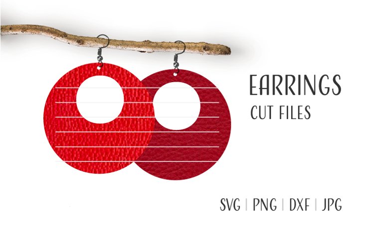 Round Earrings Svg, Earrings Svg, Circle Hoop Earrings Svg example image 1