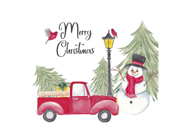 Farm fresh christmas trees, Red old car, Snowman clipart example image 1