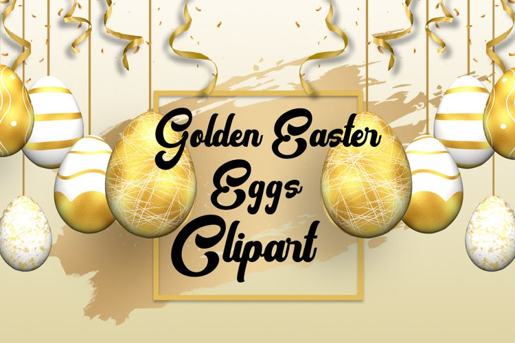 Golden Easter Eggs Clipart
