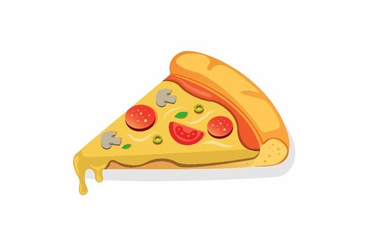 single slice italian pizza cartoon flat illustration vector example image 1