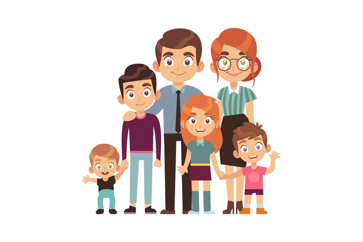 Happy big family together. Father and mother with teenager c example image 1