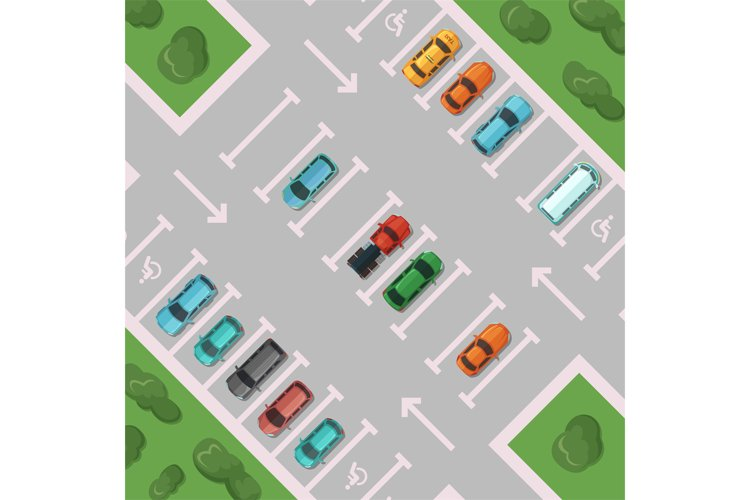 Vector diagonal view parking with places for disabled people example image 1