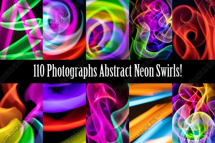 Abstract Neon Light Swirls Collection By Squeeb Creative