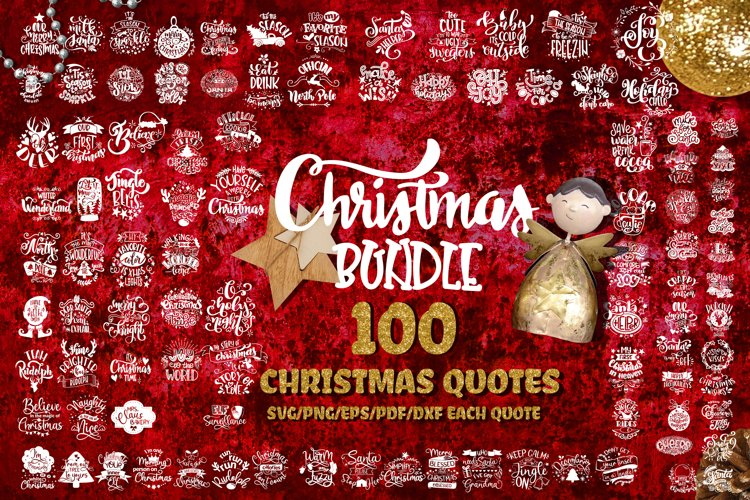 Christmas svg BUNDLE set of 100 quotes New Year example image 1
