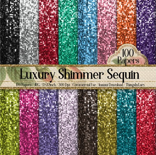 100 Luxury Shimmering Sequin Papers example image 1