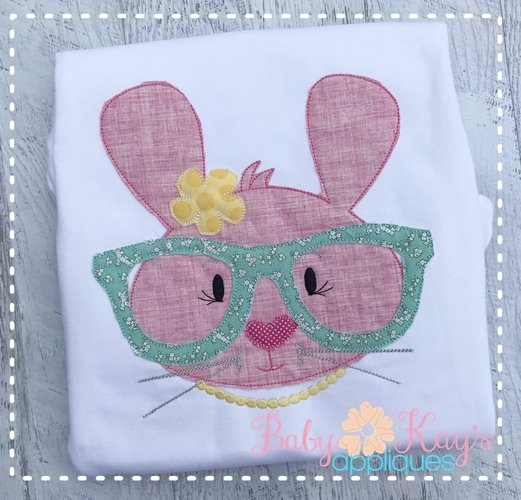 Bunny With Glasses Girl 4x4, 5x7, 6x10, 8x8