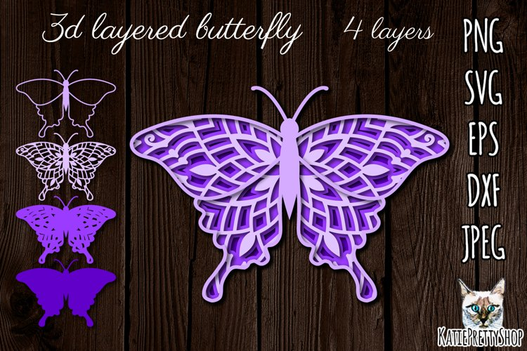 3D Layered Butterfly Laser Cut File, Multilayered SVG, SVG File. example