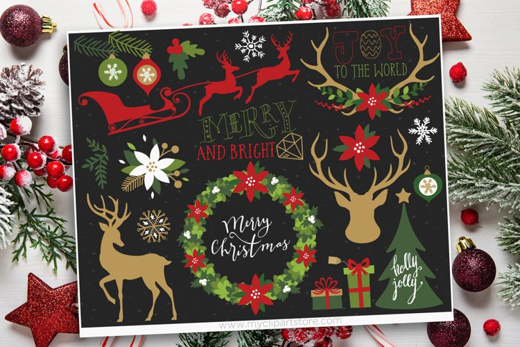 Farmhouse Christmas Clipart, Reindeer Silhouettes, Gold example image 1