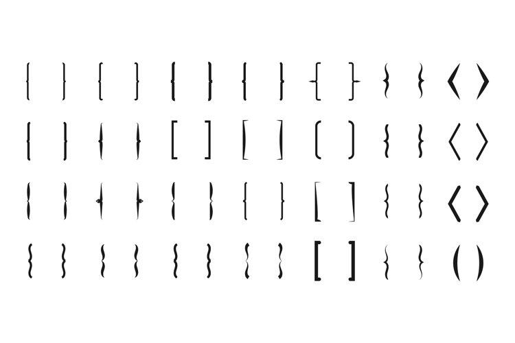 Bracket vector icons. Curly line brackets typography symbols example image 1