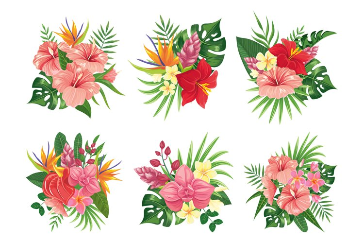 Tropical flowers bouquet. Exotic palm leaves, floral tropic example image 1