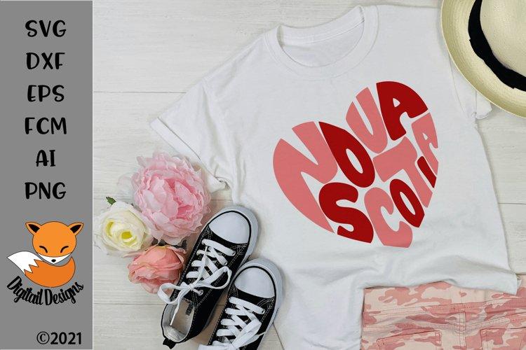 Canadian Province Nova Scotia Heart Shaped Word Art SVG example image 1
