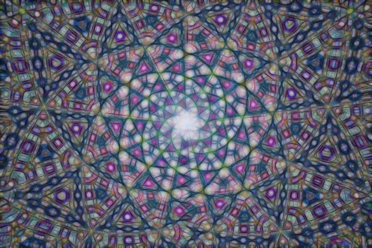 Abstract kaleidoscope background with blue pattern. example image 1
