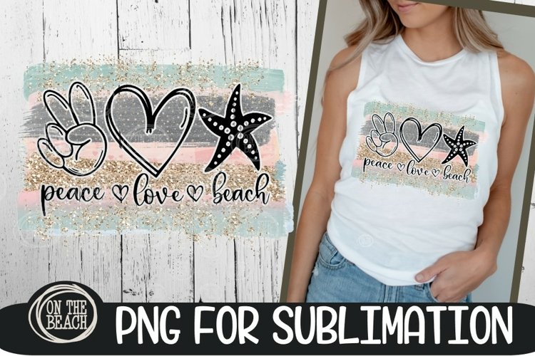Peace Love Beach -Pastel Beach PNG 300 DPI Sublimation example image 1