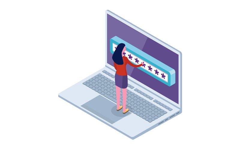 Data Access, Password isometric concept. example image 1