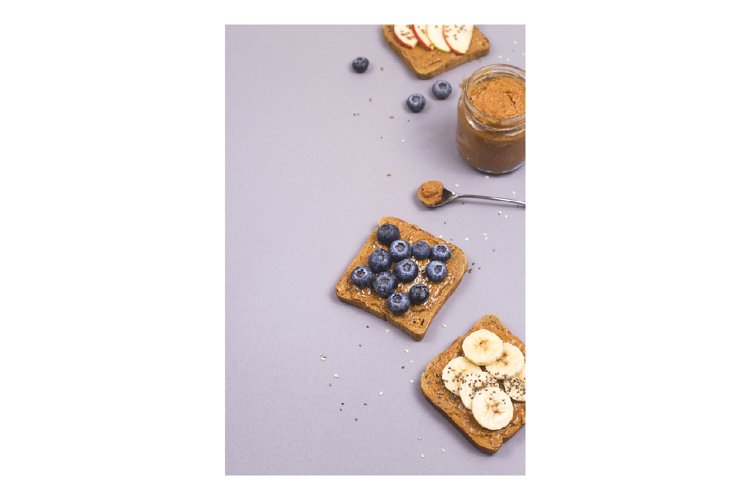 Healthy vegetarian breakfast with peanut butter example image 1