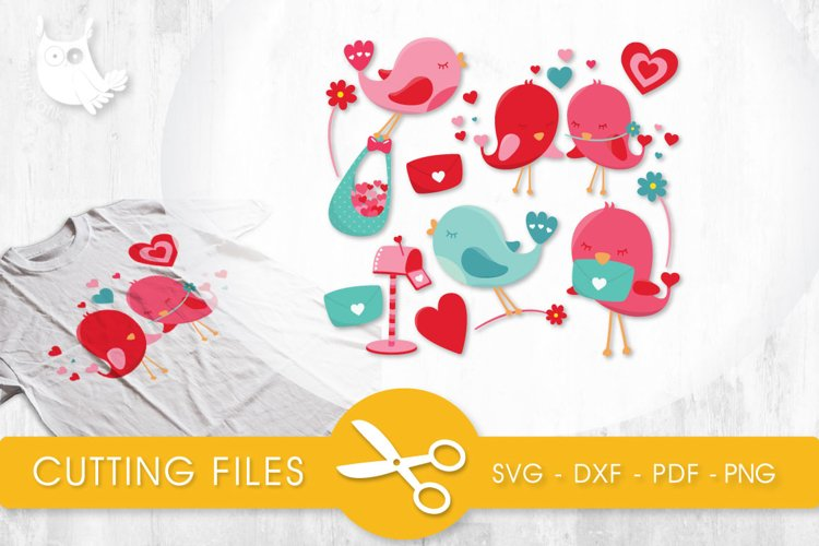 Love Birds cutting files svg, dxf, pdf, eps included - cut files for cricut and silhouette - Cutting Files SVG example image 1