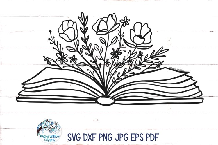 Floral Book SVG Cut File | Book with Flowers