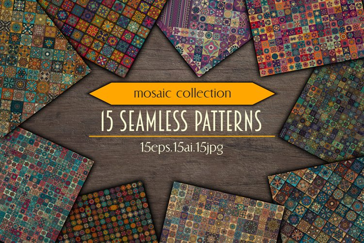 Tile mosaic seamless patterns collection example image 1