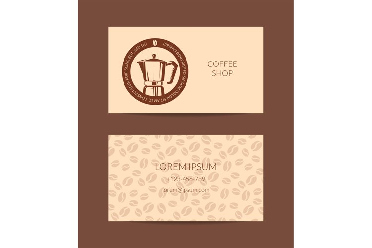 Vector coffee shop or company business card template example image 1