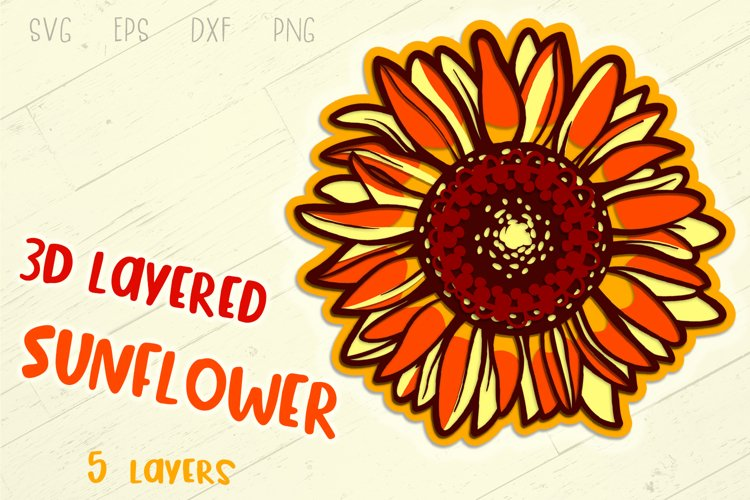 3D Layered Sunflower - 5 SVG cut files example image 1